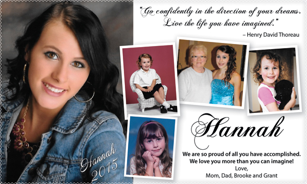 Hannah's ad for the yearbook